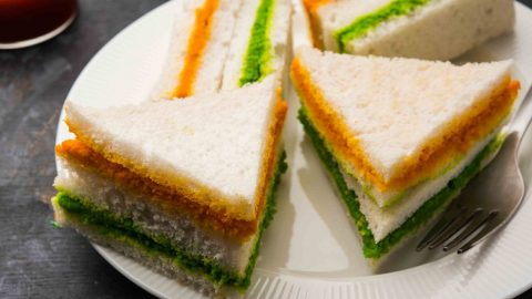Tri-colour fish mini sandwich
