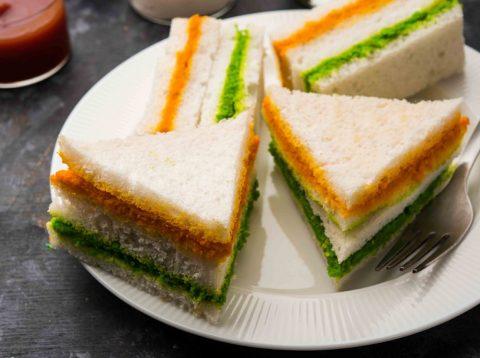 Tri-colour fish mini sandwich