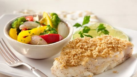 Amaranth crusted fish with stir fried vegetables